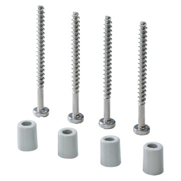 Kit containing 4 long self-threading screws with spacers for fixing lids and fronts