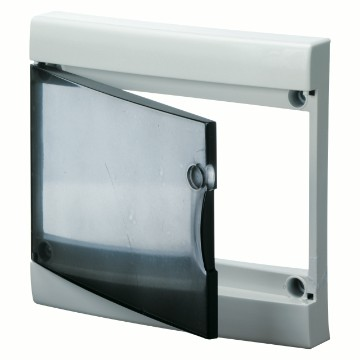 Transparent smoked door with frame for finishing French Standard modular enclosures without door - White RAL 9016 - IP40