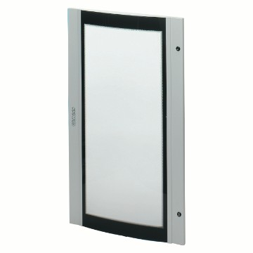 Doors in curved, smoked safety tempered glass, for 38 LAN boards equipped with 2 locks - Grey RAL 7035