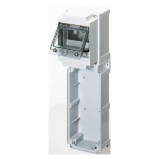 MODULAR BASE WITH PANEL WITH WINDOW AND EN50022 RAIL - 1 SOCKET OUTLET 16/32A / SELV - 6 MOD.EN50022 - IP66
