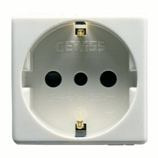 ITALIAN/GERMAN STANDARD SOCKET-OUTLET 250V ac - 2P+E 16A - P30 - 2 MODULES - SYSTEM WHITE