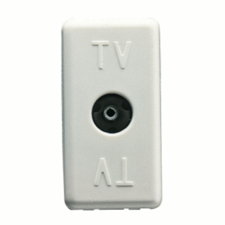 COAXIAL TV RESISTIVE SOCKET-OUTLET - IEC FEMALE CONNECTOR 9,5mm - TERMINATED 20 dB 75 OHM -1 MODULE - SYSTEM WHITE