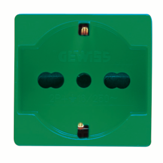ITALIAN/GERMAN STANDARD SOCKET-OUTLET 250V ac - FOR DEDICATED LINES - 2P+E 16A DUAL AMPERAGE - P40 - 2 MODULES - GREEN - SYSTEM
