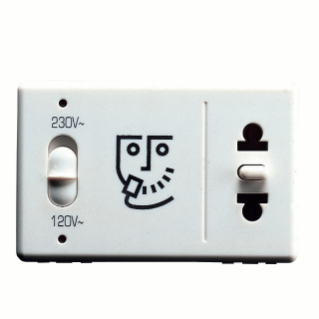 SHAVER SOCKET-OUTLET FOR HOTEL SYSTEM - EUROPEAN/AMERICAN STANDARD - INDICATOR LIGHT FOR THE SELECTED VOLTAGE -230V 50/60Hz - 3 MODULES - SYSTEM WHITE