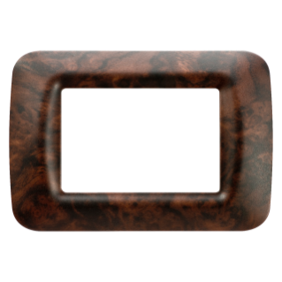 TOP SYSTEM PLATE - IN TECHNOPOLYMER - 3 GANG - ENGLISH WALNUT - SYSTEM
