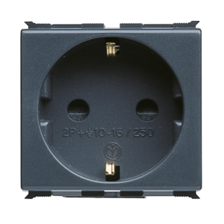GERMAN STANDARD SOCKET-OUTLET 250V ac - 2P+E 16A - 2 MODULES - PLAYBUS