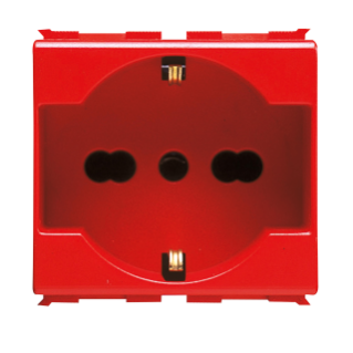 ITALIAN/GERMAN STANDARD SOCKET-OUTLET 250 V ac - FOR DEDICATED LINES - 2P+E 16A DUAL AMPERAGE - P40 - 2 MODULES - RED - PLAYBUS