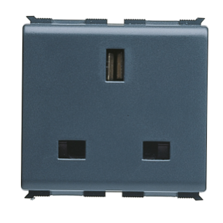 BRITISH STANDARD SOCKET-OUTLET 250V ac - 2P+E 13A - 2 MODULES - PLAYBUS
