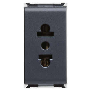 EURO AMERICAN STANDARD SOCKET-OUTLET - 250/125V ac - 2P+E 10/15A - 1 MODULE - PLAYBUS