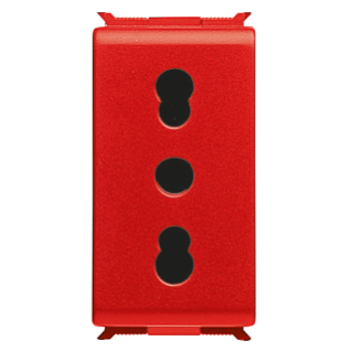 ITALIAN STANDARD SOCKET-OUTLET 250V ac - FOR DEDICATED LINES - 2P+E 16A DUAL AMPERAGE - P17-11 - 1 MODULE - RED - PLAYBUS