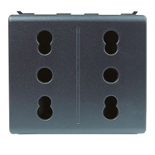 DOUBLE SOCKET-OUTLET ITALIAN STANDARD 250V - 2P+E 16A DUAL AMPERAGE - P17-11 - 2 MODULES - PLAYBUS