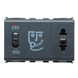 EUROPEAN/AMERICAN STANDARD SHAVER SOCKET-OUTLET - INSULATION TRANSFORMER - 230V 50/60Hz - 3 MODULES - PLAYBUS