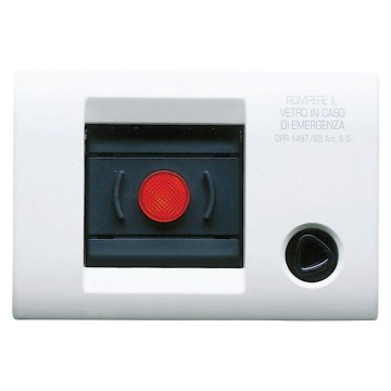 Self-supporting wired plates for lift/emergency with illuminable button switch triangle key and breakable glass - IP40