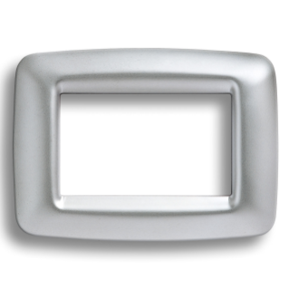 PLAYBUS YOUNG PLATE - IN METALLISEE TECHNOPOLYMER - SATIN FINISHING - 2 GANG - SOFT CHROME - PLAYBUS