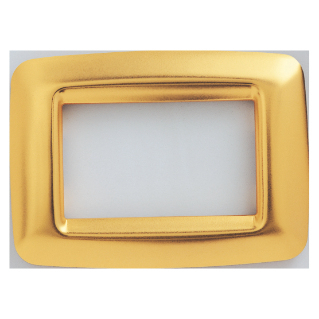 PLAYBUS YOUNG PLATE - IN METALLISEE TECHNOPOLYMER - SATIN FINISHING - 2 GANG - ANTIQUE GOLD - PLAYBUS