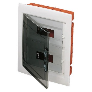 Distribution boards with windowed panel and extractable frame predisposed for terminal block housing - White RAL 9016