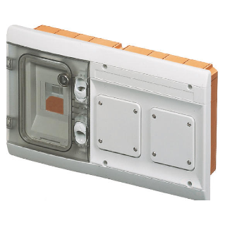 FLUSH-MOUNTING COMBINATION BOARD FITTED FOR MODULAR DEVICES AND 2 FLANGES - 4MODULES + IP55 GREY RAL7035