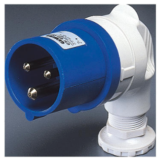 90° PLUG - IP44 - 2P+E 16A 200-250V 50/60HZ - BLUE - 6H - SCREW WIRING