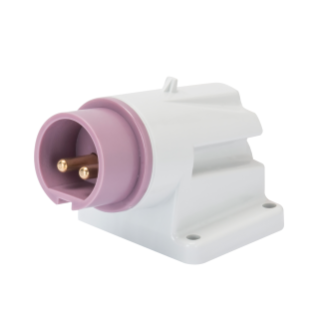 SOCLE DE CONNECTEUR EN SAILLIE À 90° - IP44 - 3P 32A 20-25V 50-60HZ - VIOLET - S.R. - CÂBLAGE À VIS