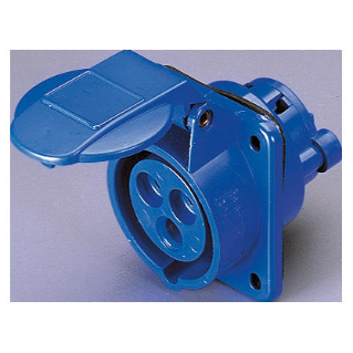 10° ANGLED FLUSH-MOUNTING SOCKET-OUTLET - 2P+E 16A 200-250V 50/60HZ - BLUE - 6H - SCREW WIRING