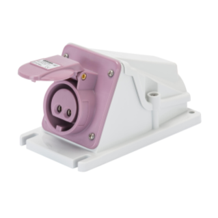 90° ANGLED SURFACE-MOUNTING SOCKET-OUTLET - IP44 - 2P 16A 20-25V 50-60HZ - VIOLET - N.R. - SCREW WIRING