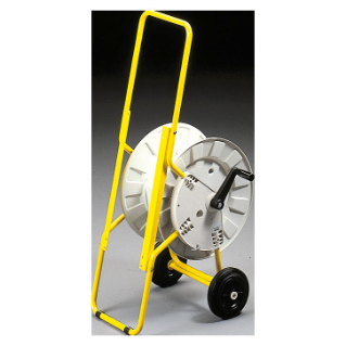 TUBOLAR METAL STAND YELLOW PAINTED -  WITH ROTATING DRUM AND 50M OF CABLE - FOR Q-DIN14/20