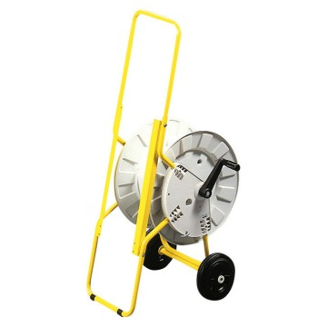 Metal carrier painted in yellow equipped with two wheels and rotating drum to wind up to 50 m of cable