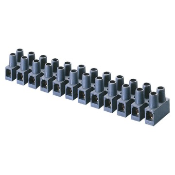 Polymer 12 pole modular terminal blocks with brass terminals - 450V - T 85°C - Black