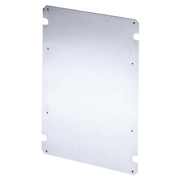 Back-mounting plate in galvanised steel with self-tapping fixing screws