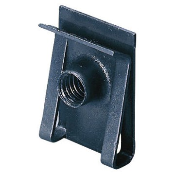 Nut and clips in galvanised steel for the fixing of devices on to perforated back-mounting plates