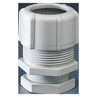 SHOCKPROOF POLYMER CONDUIT/BOX COUPLING - HOLE Ø 20MM - FOR EXTERNAL CONDUITS 16MM - GREY RAL7035 - IP66