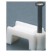 Flat shockproof polymer clips with pin of hardened steel - White