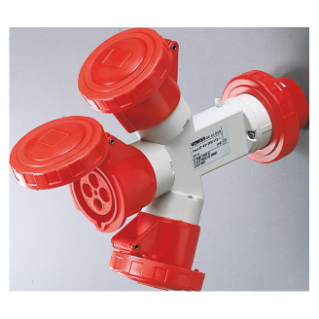 MULTIPLE SOCKET-COUPLERS 3 OUTPUTS IP67 - PLUG 16A - 2 SOCKET-OUTLETS 3P+E 400V 50/60HZ - RED - 6H