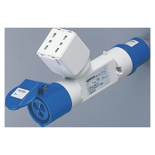 BRANCHED ADAPTOR IP44 - 1 BRANCHED OUTLET - WIRED - PLUG 2P+E 16A 230V ac 50/60HZ - 1 SOCKET-OUTLET 2P+E 16A DUAL AMP (P30/P17) + 1 2P+E 16A 230V ac