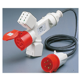 BRANCHED ADAPTOR IP44 - 2 BRANCHED OUTLETS - WIRED WITH CABLE AND PLUG - PLUG 3P+N+E 16A - 2 SOCKET-OUTLETS (P17/11)+1 (P30-P17)+1 3P+N+E 16A 400V ac