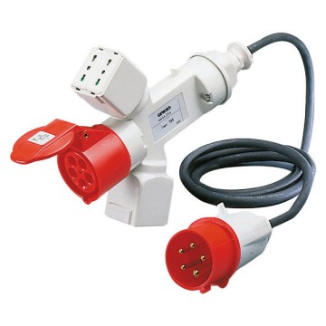 Conversion adaptor shunt with 2 m of flexible cable: IEC 309 plug IP44 Domestic sockets / IEC 309 socket-coupler IP44 - 50/60Hz