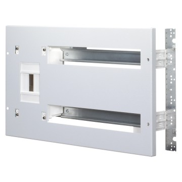 Front panel complete with mounting rails EN 50 022 and enclosure for housing power limiting circuit breaker ICP In=40 A - Spanish standard