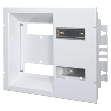 Front panel with window complete with EN 50 022 rails and plates for fixing support bases for the EDF BLUE TARIFF connecting switch - French standard