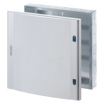 Preassembled distribution boards in painted sheet steel - Colour grey RAL 7035 Complete with outfit for modular devices Blank door in sheet metal with 2 locks