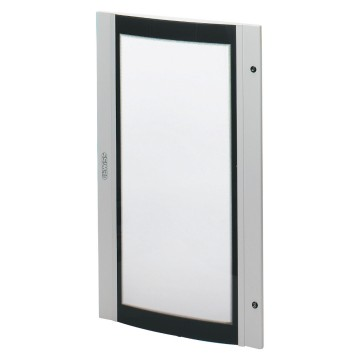 Doors in curved, smoked safety tempered glass, for 38 LAN boards equipped with 1 lock Grey RAL 7035