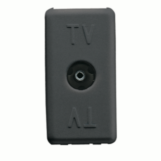 COAXIAL TV RESISTIVE SOCKET-OUTLET - IEC FEMALE CONNECTOR 9,5mm - DIRECT - 1 MODULE - SYSTEM BLACK
