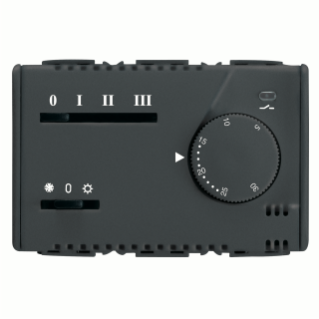 SUMMER/WINTER ELECTRONIC THERMOSTAT FOR FAN-COIL - 3 SPEED - 230V 50/60Hz - 3 MODULES - SYSTEM BLACK