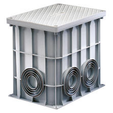 RECTANGULAR ACCES CHAMBER 360X260X320 - FLAT SEMI-PIERCED BASE, HIGH RESISTANCE COVER AND 4 STAINLESS STEEL SCREWS