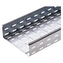 CABLE TRAY WITH TRANSVERSE RIBBING IN GALVANISED STEEL - BRN80 - WIDHT 395MM - FINISHING Z275