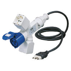 BRANCHED ADAPTOR IP44 - 2 BRANCHED OUTLETS - WIRED WITH CABLE AND PLUG - PLUG 2P+E 16A S17 - 2 (P17/11) + 1 (P30-P17) + 1 OUTLET 2P+E 16A 230V ac