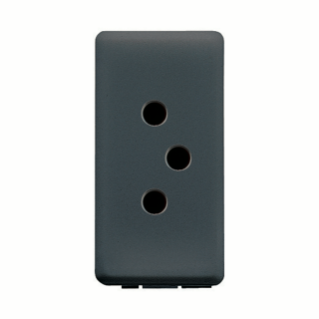 SWISS SOCKET-OUTLET 250V ac - 2P+E 10A - TYPE 12 - 1 MODULE - SYSTEM BLACK