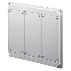 QMC125-200 - FLANGED PANEL FITTED FOR MOUNTING SOCKET OUTLET - 3 VERTICAL IB SOCKET OUTLET 16/32A IP55 - WHITE
