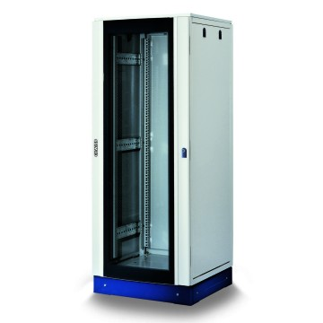 Cabinets complete with lateral panels, solid rear door and pair of depth adjustable uprights curved glass door