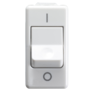 ONE-WAY SWITCH 2P 250V ac - FOR HEAVY DUTY - 25A - NEUTRAL - SYMBOL 0/I - 1 MODULE - SYSTEM WHITE