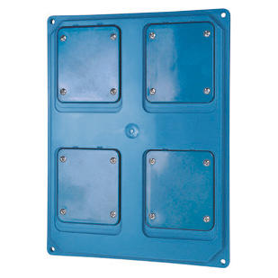 QMC16/63 - FLANGED PANEL - 4 FLUSH MOUNTING FLANGES 16/32A - LIGHT BLUE